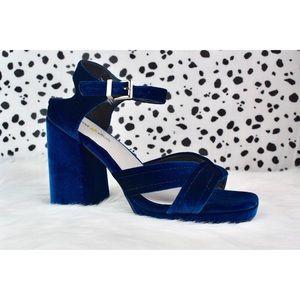 NWOT Velvet Chunky Strappy Platform Blue Heels
